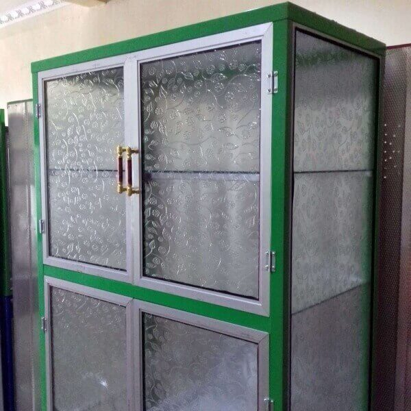 Rak  Piring  Aluminium Full Box 2  pintu  warna hijau