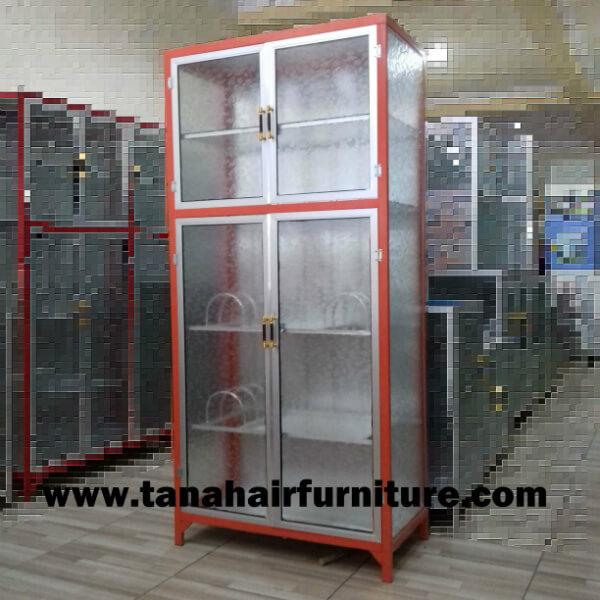 Rak  Piring  Aluminium Full Box 2  pintu  warna orange