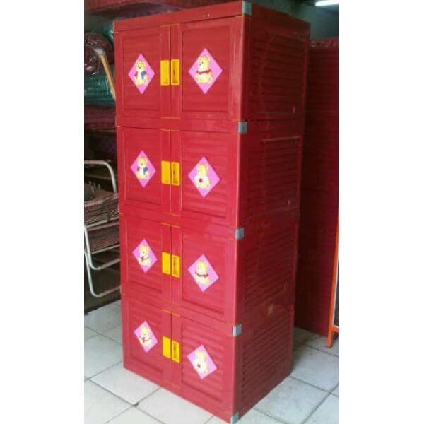 Lemari susun plastik Club - warna merah - 4 susun - tampak depan dan samping