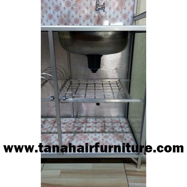 Rak  Cuci  Piring  Aluminium  tampak bawah bak cuci
