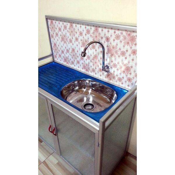 Rak  Cuci  Piring  Aluminium  bak cuci  dan keran